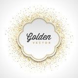Le scintillement d'or miroite fond lumineux de vecteur de cadre de label de livre blanc de confettis Images libres de droits
