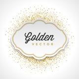 Le scintillement d'or miroite le livre blanc de confettis lumineux Photo stock