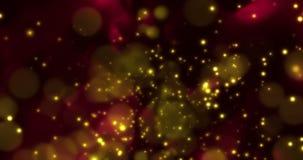Le scintillement numérique de Noël multi de couleur suscite les particules d'or hors du bokeh de foyer circulant sur le fond noir illustration de vecteur
