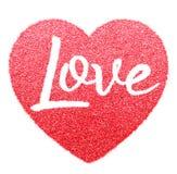 Le scintillement rouge font la forme d'amour de lettre Photo stock