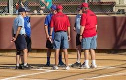 Le seconde base fait un jeu - Jeux Olympiques spéciaux Photo stock