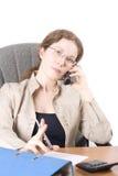 Le secrétaire parle du téléphone II Photo stock