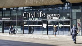 Le secteur d'achats de CityLife, ouvert en octobre 2017 est un centre commercial avec 100 boutiques dans le secteur de Tre Torri Photo stock