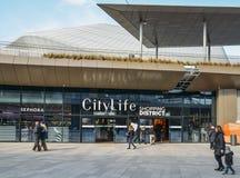 Le secteur d'achats de CityLife, ouvert en octobre 2017 est un centre commercial avec 100 boutiques dans le secteur de Tre Torri Image stock