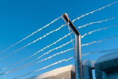 Le secteur restreint est clôturé avec le barbelé image libre de droits