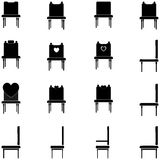 Le sedie e le poltrone nere hanno messo le icone Immagini Stock