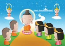 Le seigneur de la promenade de Bouddha vers le bas du ciel qui pour la visite et enseignent salut illustration stock