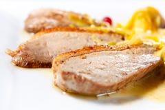Le sein de canard a fait cuire au four avec des pommes et des canneberges photo stock
