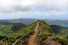 Le sentier de randonnée le plus célèbre à la plate-forme d'observation à proximité de Sete Cidades Image libre de droits