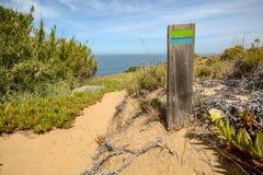 Le sentier de randonnée Rota Vicentina d'Odeceixe à Zambujeira troublent par le paysage de l'Alentejo, Portugal Photo stock