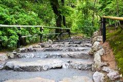 Le sentier piéton avec l'escalier a fait le ‹d'†de ‹d'†de la pierre naturelle Image stock