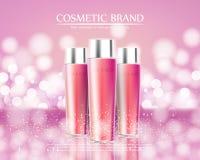 Le serie di bellezza dei cosmetici, annunci dell'ente premio spruzzano la crema per cura di pelle Modello per il manifesto di pro Fotografia Stock Libera da Diritti