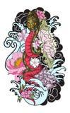 Le serpent avec le tatouage d'océan et de fleur Photos stock
