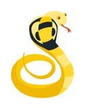 Le serpent de cobra a lové et prépare pour frapper montrer à reptile de danger de langue de crocs le vecteur animal de bande dess Image libre de droits