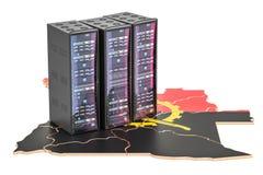 Le serveur de centre de traitement des données étire dans le concept de l'Angola, le rendu 3D Illustration de Vecteur