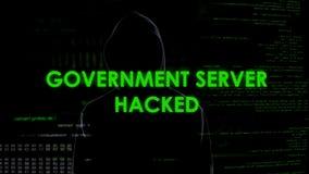 Le serveur de gouvernement a entaillé, menace pour la Sécurité d'État, attaque sur la base de données secrète image stock