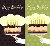 Le serveur présente le gâteau Image stock