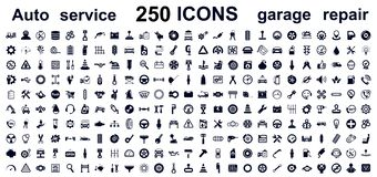 Le service automatique, le garage 250 de voiture a isolé des icônes réglées - vecteur illustration libre de droits