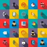 Le service de support 24 heures d'icônes a placé, style plat Photos libres de droits