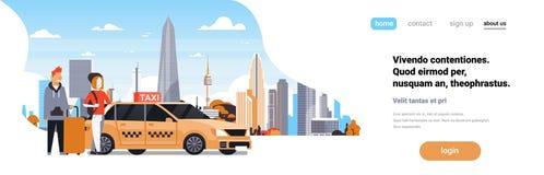 Le service de taxi de jaune d'ordre de couples de passagers se reposent dans la cabine de voiture au-dessus du personnage de dess illustration de vecteur