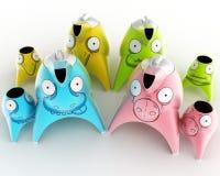 Le service du ` s d'enfants de thé et de café conçu sous forme de personnages de dessin animé a stylisé pour différents animaux 3 Photos stock
