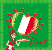 Le servitrisportionpizza, menykort Arkivbild
