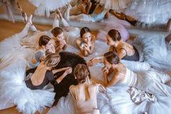 Le sette ballerine contro la barra di balletto Immagine Stock Libera da Diritti