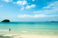 Le seul regard asiatique de garçon à la mer bleue claire préparent alors pour nager photos libres de droits
