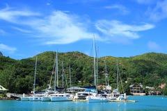 Île Seychelles de Digue de La de port Photographie stock libre de droits