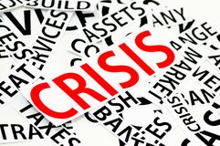 Le sezioni della carta sulla crisi nel rosso Fotografia Stock