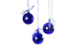 Le sfere blu di nuovo anno fotografie stock
