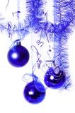 Le sfere blu di nuovo anno fotografie stock libere da diritti