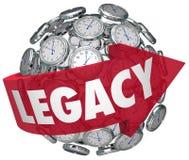 Le sfere dell'orologio della freccia di parola dell'eredità che durano l'impressione cronometrano la memoria f illustrazione di stock