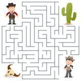 Le shérif et a voulu le labyrinthe pour des enfants Photos stock