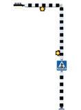Le signe Belisha d'avertissement vigilant piétonnier de passage clouté balise Photographie stock libre de droits