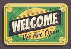 Le signe bienvenu nous sommes conception de vecteur de signe influencée par cru typographique ouvert d'affaires illustration libre de droits