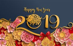Le signe 2019 chinois de zodiaque de nouvelle année avec le papier a coupé l'art et ouvre le style sur le fond de couleur Traduct illustration de vecteur
