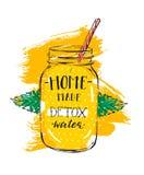 Le signe créatif de l'eau de detox d'abrégé sur tiré par la main vecteur avec le pot en verre, les feuilles en bon état et la cal Photo stock
