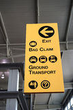 Le signe d'aéroport dirige des voyageurs Image stock