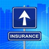 Le signe d'assurance représente l'affichage s'assurent et couverture illustration stock