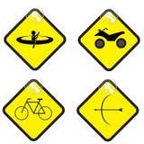 Le signe d'aventure a placé dans l'illustration jaune de vecteur d'étiquette Photo stock