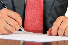 Le signe d'homme d'affaires documente le plan rapproché Photos libres de droits