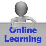 Le signe de étude en ligne signifie l'apprentissage en ligne Images stock
