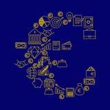 le signe de ¬ de 'd'â fait d'icônes de finances et d'opérations bancaires stockent le vecteur Images libres de droits