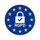 Le signe de GDPR a appelé RGPD dans la langue française Image stock