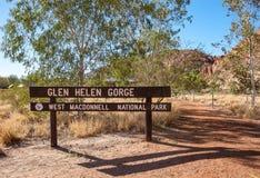 Le signe de Glen Helen Gorge photo libre de droits