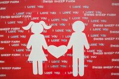 Le signe de l'amour aux moutons suisses cultivent où est la plus grande ferme de moutons et style de parc d'amusement Cha-suis de Images libres de droits