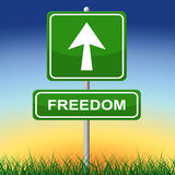 Le signe de liberté représente obtiennent parti et direction Images libres de droits