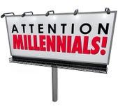 Le signe de panneau d'affichage de Millennials d'attention attirent la coutume de la génération Y Images stock