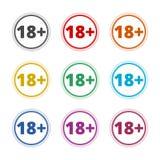 le signe de restriction de l'âge 18+, dirigent dix-huit icônes, icônes de couleur réglées Illustration Libre de Droits